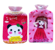 Fontee Baby 2Pcs Hot Water Bottle with Cute Soft Velvet Cover, Small Size for Kids, Girl and Panda