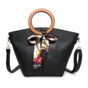 Handbags All Match Fashion Scarves Wooden Ring Hand Diagonal Dumplings Bag , black