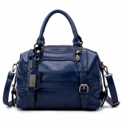 Oil Wax Leather Motorcycle Bag Handbags Fashion Soft Bag Simple Portable Shoulder Bag , blue