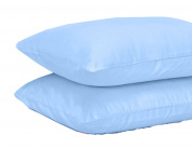 BEDDING WORLD® 50:50 Poly Cotton Matching Sky Blue Pillow Case Pair