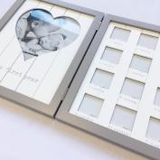 Gisela Graham White/ Grey Wooden My First Year Folding Picture Frame Gift Keepsake