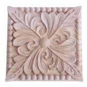 Decal Carving,Square Wooden Wood Carving Decal Furniture Wall Corner Home Decor