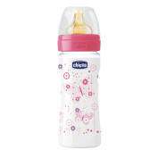 Chicco Baby Bottle with Rubber Teat Baby's bottle with adjustable flow pink