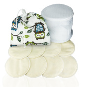 Washable Bamboo Breast Pads – Waterproof with 4 Ply Organic Quality with Net and Carry Bag/Owl Motif Leak-Proof White Pads