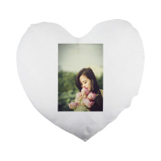 Flower Bouquet, Girl, Lotus, Posing Heart Shaped Pillow Cover