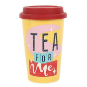 Tea for me Travel Mug, Thermal, Ceramic,Red Insulated Rubber Lid H:13.50cm x W:8.70cm x D:11.30cm FREE POSTAGE