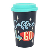 Coffee To Go Travel Mug, Thermal, Insulated Rubber Lid, Ceramic. H:13.50cm x W:8.70cm x D:11.30cm FREE POSTAGE