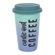 Cardio and Coffee Travel Mug, Thermal, Ceramic, Rubber Lid, H:15.00cm x W:9.50cm x D:9.50cm FREE POSTAGE