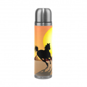 BENNIGIRY Horses Thermos Water Bottle - Double Wall Stainless Steel Vacuum Insulated Travel Mug Keeps Drinks Hot for 12 hours |500 ml- 17 oz