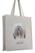 Lhasa Apso Breed of Dog H Reusable Cotton Shopping Bag Tote Gusset for Extra Space and Long Handles - Perfect Gift