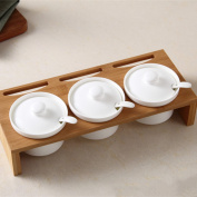 Creative Ceramics Seasoning Tank Set With Wooden Tray Spice Jar With Lid For Salt Pepper Sugar