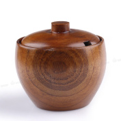 Wooden Spice Jar With Lid And Spoon Food Storage Containers For Secure Strong Storage 8 * 8cm