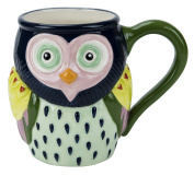 Mug, Artsy Owl Collection, 530ml Capacity, Hand-painted Earthenware by Boston Warehouse