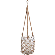 Hill Interiors Hanging Glass Jar In Twine Net (One Size)