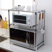 lzzfw Double Layers Kitchen Microwave Oven Shelf Kitchen Rack Oven Rack, B