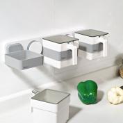 WENZHE Kitchen Storage Rack Spice Cooker Shelf Wall Mounted Sucker Seasoning Baskets Multifunction Removable Simple, 392 * 98 * 93mm