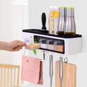 WENZHE Kitchen Storage Rack Spice Cooker Shelf Wall Mounted Seasoning Shelves Multifunction Free Drilling Simple, 50 * 11 * 11.9cm