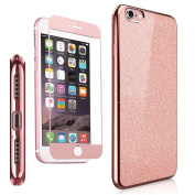 iPhone 7 & iPhone 8 [ size 4.7 ] inch Case , NWNK13® Rose Bling / Sparkling / TPU / Electroplate Frame Back Case With Matching Colour Fibre Front Temper Screen Protector Plus Branded Card Organiser