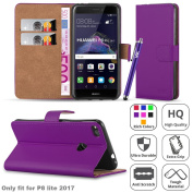 Huawei P8 Lite 2017 Case - Luxury PU Leather Wallet Case Magnetic Closure Flip Stand View Cover Protective Card Holder Case Cover Pouch For Huawei P8Lite 2017 Case With Screen Protector & Touch Stylus
