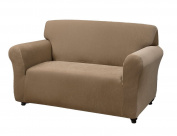 Kathy Ireland Home Day Break Loveseat Slipcover, Fits Loveseats from 99cm to 182cm wide, Made of Pique Knitted Stretch Fabric- Beige