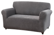 Kathy Ireland Home Day Break Loveseat Slipcover, Fits Loveseats from 99cm to 182cm wide, Made of Pique Knitted Stretch Fabric- Charcoal