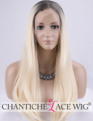 Chantiche Ombre Blonde Lace Front Wigs for Women Dark Roots Natural Looking Straight Synthetic Wig for Christmas Heat Resistant 46cm