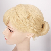 ThinkMax Womens Cute Cosplay Wig Braids Updo Style Blonde