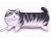 Pencil Holder,HOYOFO 3D Vivid Cat Printed Pencil Holder Cosmetics Bag Make Up Pouch Coin Pencil Organiser,Grey
