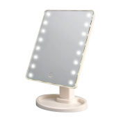 22 LED Lighted Makeup Mirror / Vanity Mirror with Touch Screen Dimming, Detachable 10X Magnification Spot Mirror, 360° Swivel Rotation, Portable Convenience and High Definition Clarity Cosmetic Mirro