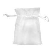 Demiawaking 100Pcs Organza Bags, White Organza Wedding Favour Christmas Gift Candy Bags Party Favour Bags Jewellery Pouch