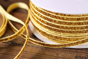 redchocol8 10M x 5mm Wide Gold Glitzy Trimming Glittered Ribbon Wedding Christmas Gift Wrapping