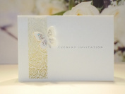 20 Evening Invitations Ivory Pearlescent 3D Holographic Butterfly Ideal For Weddings Parties Incs Envelopes