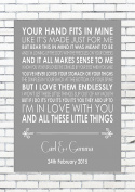 LITTLE THINGS - ONE DIRECTION - Wedding Anniversary Engagement Song Personalised First Dance Lyric Lyrics A4 (21cm x 29.7cm) Unframed Print