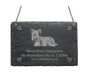 "Slate Sign '""Skye Terrier Your Text with Pattern – 22 x 16 cm – Dog Sign"