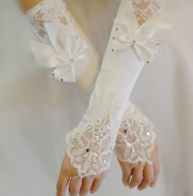 Ajunr-Gloves Simple Elegant Short Wedding Wedding Bridal White Lace Wedding Summer Accessories