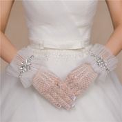 Ajunr-Gloves White Wedding Long Satin Wedding Dresses Mesh Wedding Lace Short