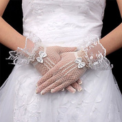 Ajunr-Gloves Fishing Nets Lace Bow Tie Bridal Etiquette Mesh Wedding