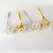Bundle of 10 Pearl Sprays Gold/Ivory - Artificial Flowers