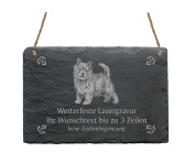 "Slate Sign '""Norwich Terrier Your Text with Pattern – 22 x 16 cm – Dog Sign"