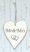 Wooden Whitewash 'Mr & Mrs' Heart Sign …