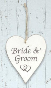 Wooden Whitewash 'Bride & Groom' Heart Sign …
