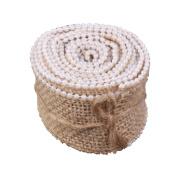 ZCSMg Burlap Craft Ribbon Faux Pearl for Vintage Wedding Home Decor