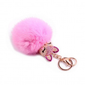 ALCYONEUS Cute Blign Glitter Rhinestone Fox Fauc Fur Ball Key Chain Keyring Bag Car Hanging Decor