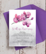 Personalised Orchid Wedding Anniversary Invitations with Envelopes