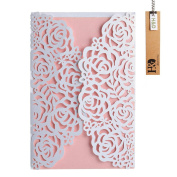 24pcs Newest Pink Rose Laser Cut & Embossed Invitations Kit & Thank You Card For Wedding Party Birthday Occasion