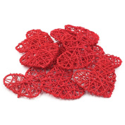 20pcs/Pack Natural Rattan Heart for Christmas Birthday Party & Home Wedding Party Wedding Party Decoration Ornaments 10cm-Red