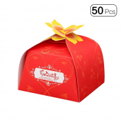 50pcs/Pack Creative New Floral European Wedding Candy Boxes Paper Party Favour Gift Box Decor Set With Flower Buckle,Small-Red