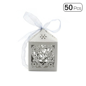 50pcs/pack Delicate Heart Wedding Creative High Grade Candy Packing Box With Lace Decorationr-Grey