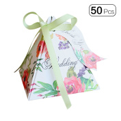 50pcs/pack Triangle Double Side Flower Mini Wedding Candy Boxes With Lace Tag Party Favour Dessert Box Decoration-Green