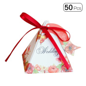 50pcs/pack Triangle Double Side Flower Mini Wedding Candy Boxes With Lace Tag Party Favour Dessert Box Decoration-Red